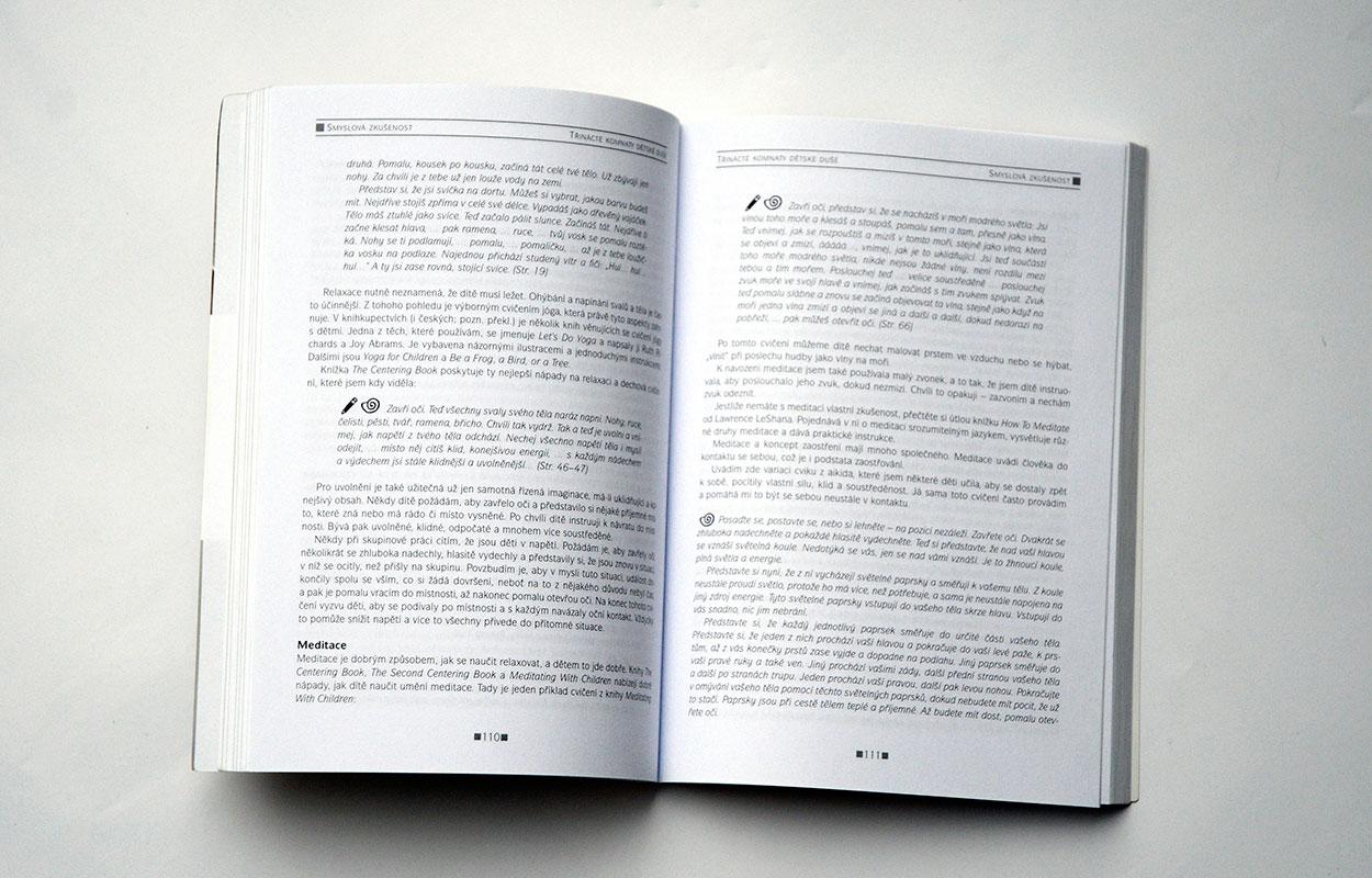 Grafický návrh a sazba knihy Průvodce světem vašeho dítěte - Třinácté komnaty dětské duše. Nakladatelství DRVOŠTĚP.