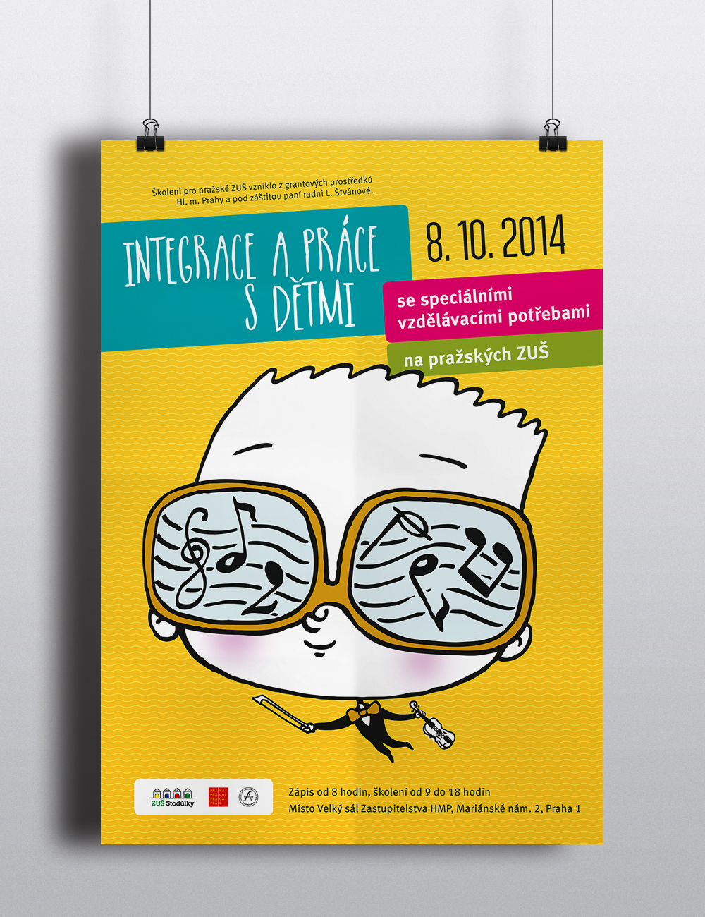 Plakát na školení Integrace a práce s dětmi. Vytvořeno pro ZUŠ Stodůlky.